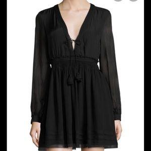 Calypso St Barth Black V Neck Long Sleeve Dress